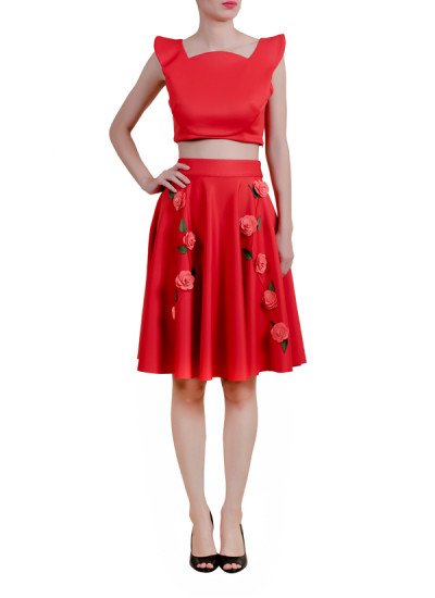 Indian Fashion Designers - Riddhi And Revika - Contemporary Indian Designer - Red Crop Top and Skirt - RRI-AW16-CRP-TP-SKT-RP