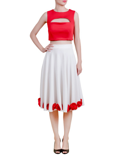 Indian Fashion Designers - Riddhi And Revika - Contemporary Indian Designer - Crop Top and Midi Skirt - RRI-AW16-CRP-TP-SKT-RW