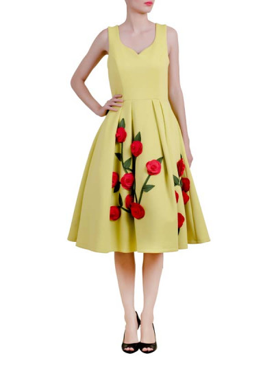 Indian Fashion Designers - Riddhi And Revika - Contemporary Indian Designer - Yellow Midi Dress - RRI-AW16-DRS-LPFM