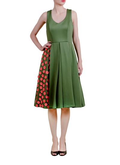 Indian Fashion Designers - Riddhi And Revika - Contemporary Indian Designer - Midi Dress with Floral Motifs - RRI-AW16-DRS-OPFM