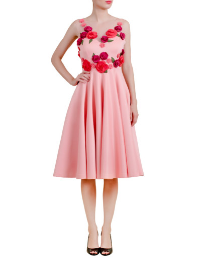 Indian Fashion Designers - Riddhi And Revika - Contemporary Indian Designer - Pink Midi Dress with Floral Motifs - RRI-AW16-DRS-PMCFM