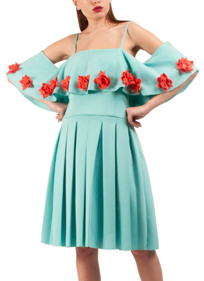 Indian Fashion Designers - Riddhi And Revika - Contemporary Indian Designer - Pleated Powder Blue Dress - RRI-SS16-DRS-20