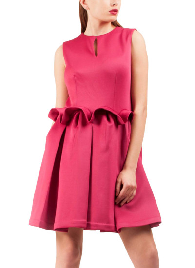 Indian Fashion Designers - Riddhi And Revika - Contemporary Indian Designer - Pink Constructed Waist Dress - RRI-SS16-DRS-21