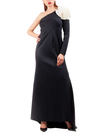 Indian Fashion Designers - Riddhi And Revika - Contemporary Indian Designer - One Off Shoulder Navy Gown - RRI-SS16-GWN-17
