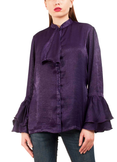 Indian Fashion Designers - Riddhi And Revika - Contemporary Indian Designer - Bell Sleeves Purple Shirt - RRI-SS16-SHRT-12