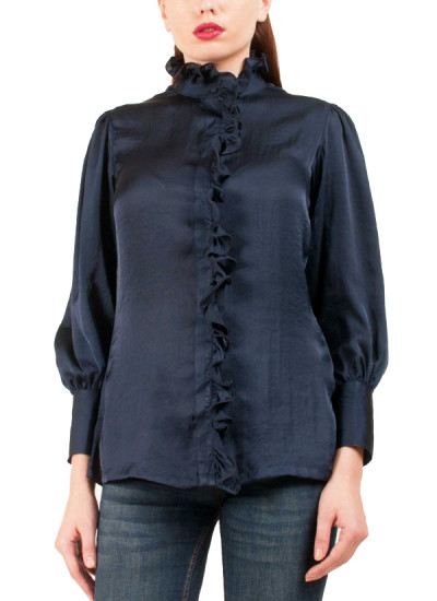 Indian Fashion Designers - Riddhi And Revika - Contemporary Indian Designer - Navy Ballon Sleeved Shirt - RRI-SS16-SHRT-15