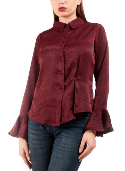Indian Fashion Designers - Riddhi And Revika - Contemporary Indian Designer - Flared Sleeve Maroon Shirt - RRI-SS16-SHRT-18
