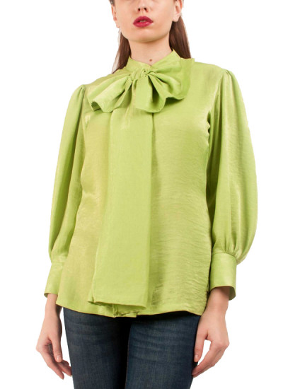 Indian Fashion Designers - Riddhi And Revika - Contemporary Indian Designer - Lime Green Bow Tie Up Shirt - RRI-SS16-SHRT-26