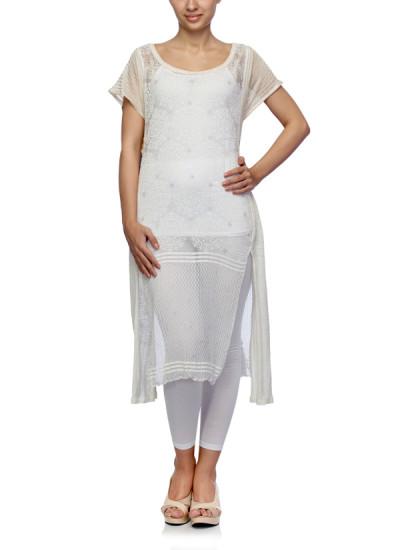 Indian Fashion Designers - Satya Suman - Contemporary Indian Designer - Boho Crushed Block Printed Tunic - SS-NO-SS16-STL18