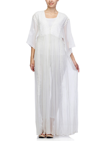 Indian Fashion Designers - Satya Suman - Contemporary Indian Designer - Boho Flowy Chikan Gown - SS-NO-SS16-STL19