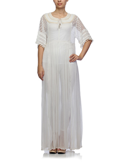 Indian Fashion Designers - Satya Suman - Contemporary Indian Designer - Boho Flowy Print Lace Gown - SS-NO-SS16-STL22