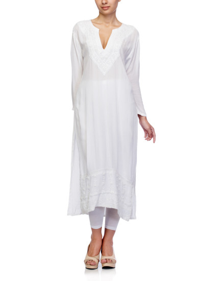 Indian Fashion Designers - Satya Suman - Contemporary Indian Designer - Boho Crushed Cotton Chikan Tunic - SS-NO-SS16-STL24