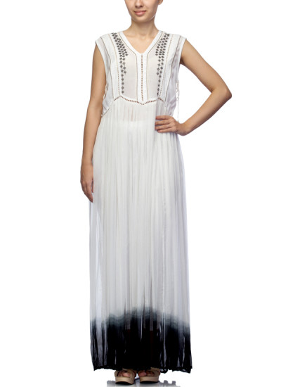 Indian Fashion Designers - Satya Suman - Contemporary Indian Designer - Boho Flowy Ombre Crystalised Gown - SS-NO-SS16-STL26