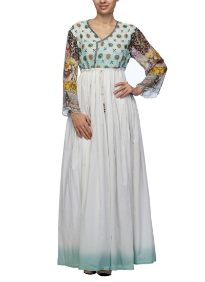 Indian Fashion Designers - Satya Suman - Contemporary Indian Designer - Boho Printed Crystal Neck Ombre Gown - SS-NO-SS16-STL29