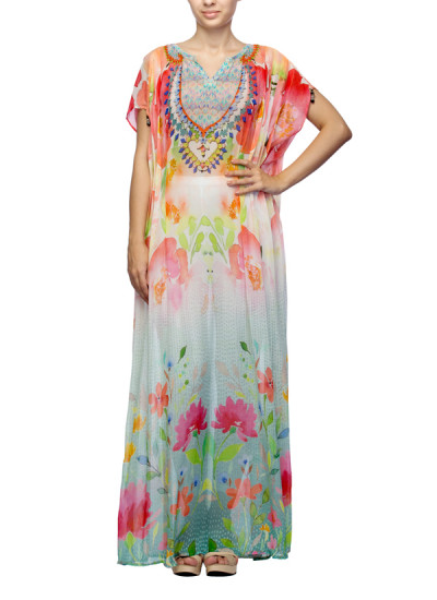 Indian Fashion Designers - Satya Suman - Contemporary Indian Designer - Floral draped kaftan Gown - SS-NO-SS16-STL36