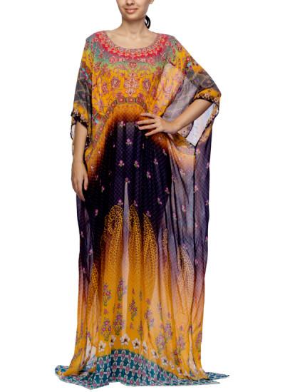 Indian Fashion Designers - Satya Suman - Contemporary Indian Designer - Printed Crystal Embellished Draped Kaftan - SS-NO-SS16-STL50