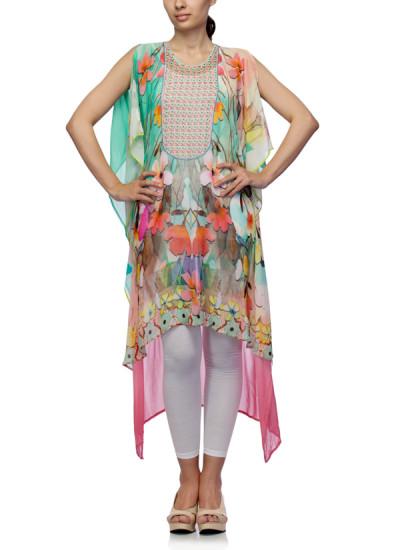Indian Fashion Designers - Satya Suman - Contemporary Indian Designer - Flowy Floral Printed Kaftan - SS-NO-SS16-STL57