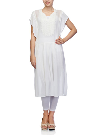 Indian Fashion Designers - Satya Suman - Contemporary Indian Designer - Flowy Chikan And Beaded Tunic - SS-NO-SS16-STL9