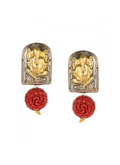 Indian Fashion Designers - Silvermerc - Contemporary Indian Designer - Chic Coral Rose Beaded Earrings - SM-SS16-SME-1048