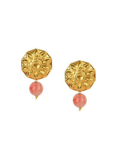 Indian Fashion Designers - Silvermerc - Contemporary Indian Designer - Pink Quartz Stones Studded Earrings - SM-SS16-SME-1079
