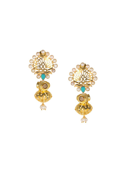 Indian Fashion Designers - Silvermerc - Contemporary Indian Designer - Feminine Pearl Earrings - SM-SS16-SME-1341