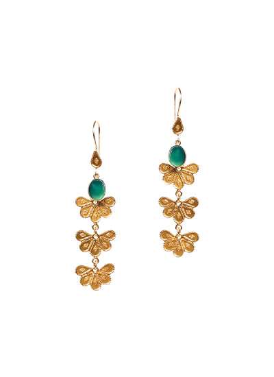 Indian Fashion Designers - Silvermerc - Contemporary Indian Designer - Delicate Dangling Gold Earrings - SM-SS16-SME-1443
