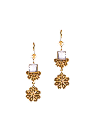 Indian Fashion Designers - Silvermerc - Contemporary Indian Designer - Contemperory Crystal Stone Earrings - SM-SS16-SME-1444