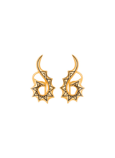 Indian Fashion Designers - Te Maya - Contemporary Indian Designer - Sterling Silver Ear Clips with Black Enamelling - TMA-SS16-1144