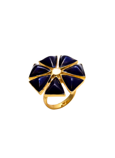 Indian Fashion Designers - Te Maya - Contemporary Indian Designer - 3D Ring with Meenakari - TMA-SS16-M102