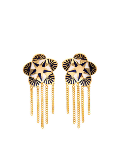 Indian Fashion Designers - Te Maya - Contemporary Indian Designer - Floral Studs with Metal Chain Danglers - TMA-SS16-M103