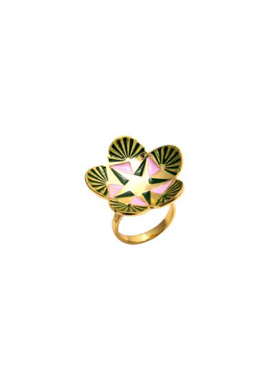 Indian Fashion Designers - Te Maya - Contemporary Indian Designer - Floral Motif Meenakari Ring - TMA-SS16-M104