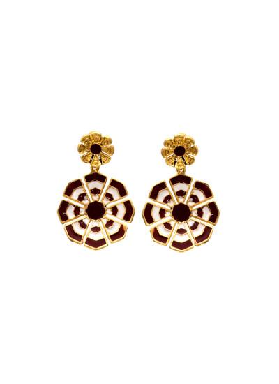 Indian Fashion Designers - Te Maya - Contemporary Indian Designer - Earrings with Meenakari - TMA-SS16-M107