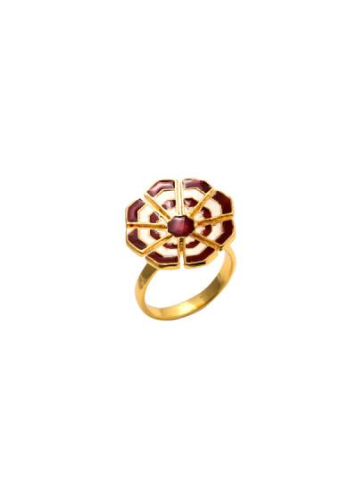 Indian Fashion Designers - Te Maya - Contemporary Indian Designer - Cocktail Ring with Meenakari Work - TMA-SS16-M108