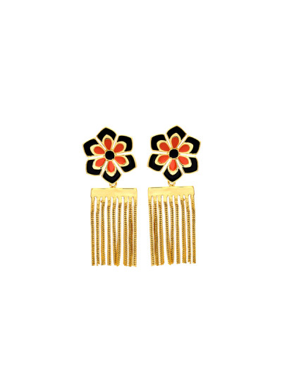Indian Fashion Designers - Te Maya - Contemporary Indian Designer - Floral Motif Stud with Chain Dangling - TMA-SS16-M109