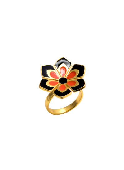 Indian Fashion Designers - Te Maya - Contemporary Indian Designer - Floral Motif Cocktail Ring - TMA-SS16-M110