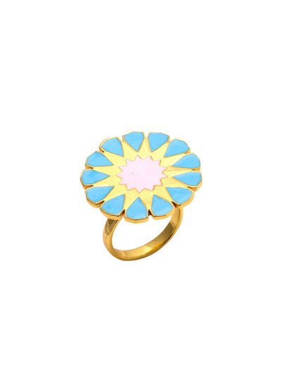 Indian Fashion Designers - Te Maya - Contemporary Indian Designer - Floral Cocktail Ring with Meenakari Work - TMA-SS16-M114