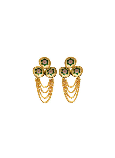 Indian Fashion Designers - Te Maya - Contemporary Indian Designer - Circular Domes with Floral Motif and Chain - TMA-SS16-M124