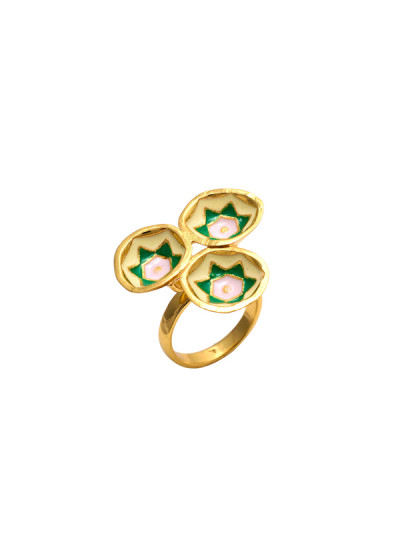 Indian Fashion Designers - Te Maya - Contemporary Indian Designer - Circular Domes with Floral Motif Ring - TMA-SS16-M125
