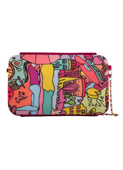 Indian Fashion Designers - The Purple Sack - Contemporary Indian Designer - Digital Printed Graphic Clutch - TPS-SS16-J1