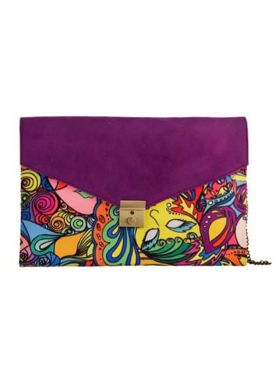 Indian Fashion Designers - The Purple Sack - Contemporary Indian Designer - Purple Digital Printed Clutch - TPS-SS16-J23