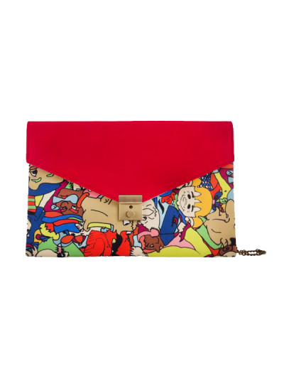 Indian Fashion Designers - The Purple Sack - Contemporary Indian Designer - Red Digital Printed Clutch - TPS-SS16-J24