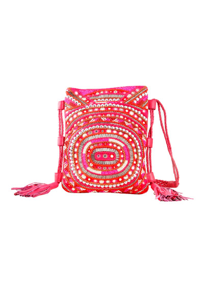 Indian Fashion Designers - The Purple Sack - Contemporary Indian Designer - Embroidered Pink Leather Sling Bag - TPS-SS16-J28