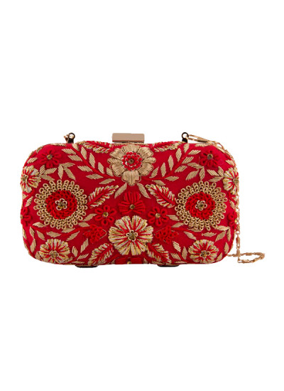 Indian Fashion Designers - The Purple Sack - Contemporary Indian Designer - Gorgeous Floral Embroidered Clutch - TPS-SS16-J3