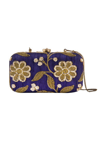 Indian Fashion Designers - The Purple Sack - Contemporary Indian Designer - Floral Embroidered Royal Blue Clutch - TPS-SS16-J32