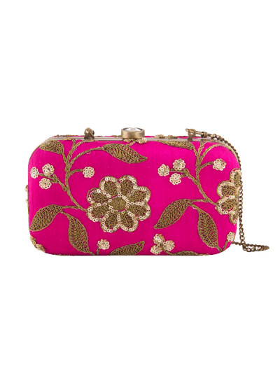 Indian Fashion Designers - The Purple Sack - Contemporary Indian Designer - Hot Pink Embroidered Clutch - TPS-SS16-J33