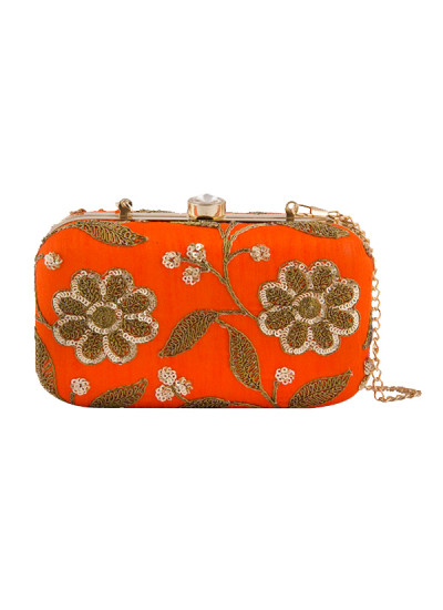 Indian Fashion Designers - The Purple Sack - Contemporary Indian Designer - Orange Floral Embroidered Clutch - TPS-SS16-J34