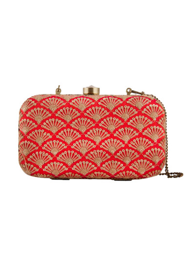 Indian Fashion Designers - The Purple Sack - Contemporary Indian Designer - Red Sequin And Zari Clutch - TPS-SS16-J35