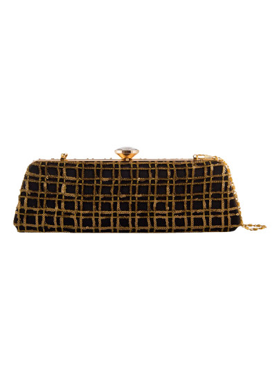 Indian Fashion Designers - The Purple Sack - Contemporary Indian Designer - Black And Gold sequined Clutch - TPS-SS16-J5