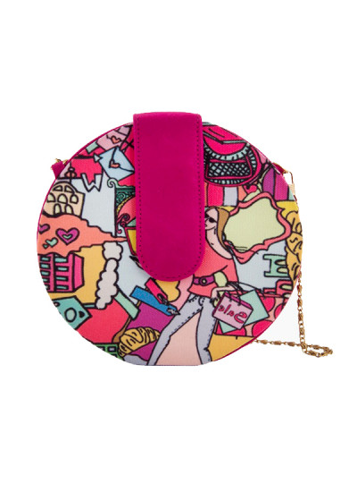 Indian Fashion Designers - The Purple Sack - Contemporary Indian Designer - Digital Printed Round Sling Bag - TPS-SS16-J9