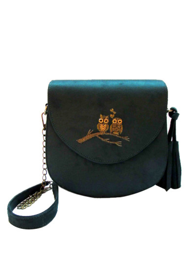 Indian Fashion Designers - Tresclassy - Contemporary Indian Designer - Olive Suede Saddle Bag - TC-SS16-TC1001